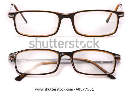 Modern spectacles isolated on white background - stock photo