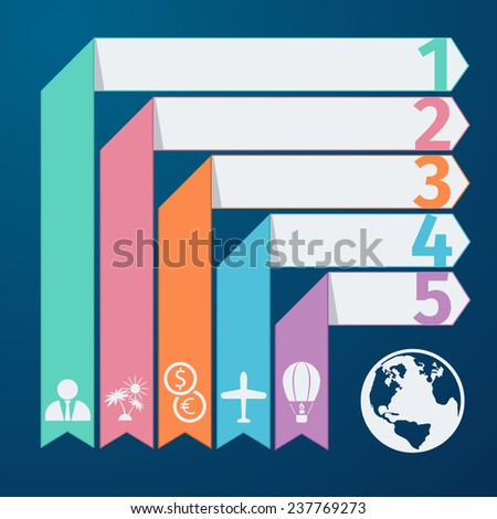 Modern spiral infographics options banner in flat design style. Can be used for workflow layout diagram number options web design. Travel infographic template pie chart with item icons. Raster version - stock photo