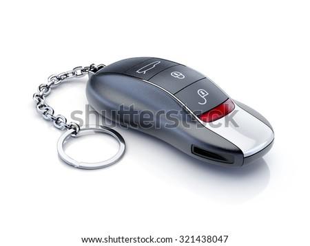 Modern sport car key isolated on white background - stock photo