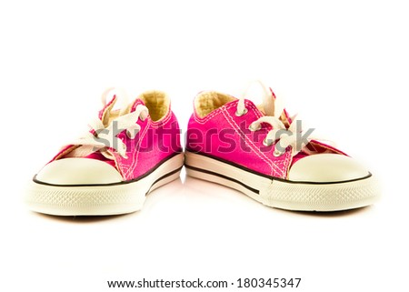 Modern sport shoes on white background - stock photo