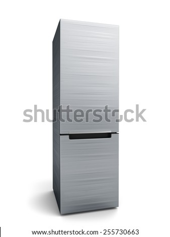 Modern stainless steel refrigerator isolated on white background - stock photo