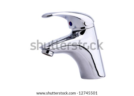 Modern stainless steel tap. Isolated on white background. - stock photo
