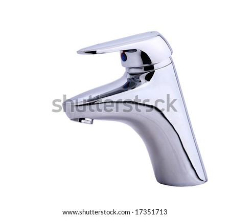 Modern stainless steel tap. Isolated on white background - stock photo