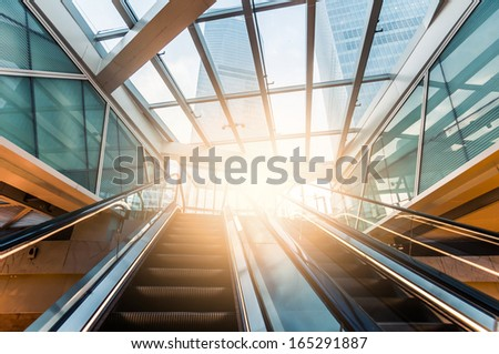 modern stair case in shanghai with towers - stock photo