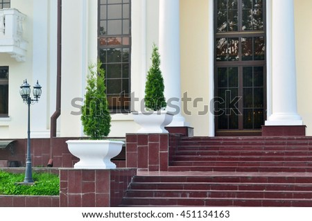 Modern staircase at the entrance of a public building  - stock photo