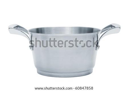 Modern steel saucepan on a white background - stock photo
