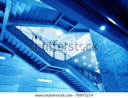 Modern steel staircase, tall and magnificent. - stock photo