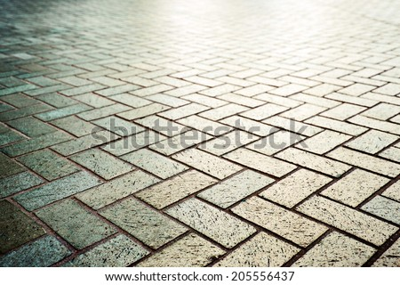 Modern stone street road pavement texture, Brick pavement with perspective view - stock photo