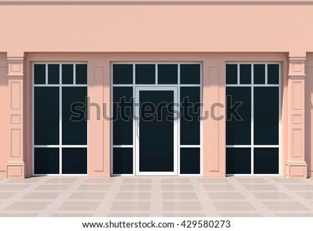 Modern store facade in sun light - stock photo