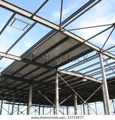 Modern storehouse construction site - stock photo