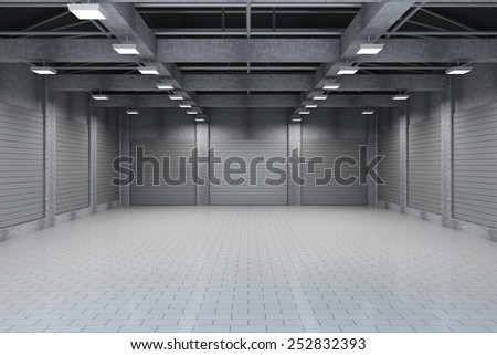 Modern Storehouse 3D Interior with Closed Metal Blinds. 3D Rendering - stock photo