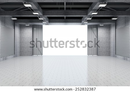 Modern Storehouse 3D Interior with Opened Doors. 3D Rendering - stock photo