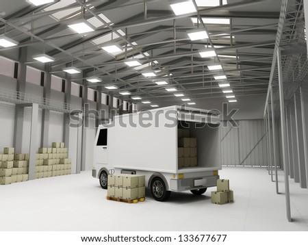 Modern Storehouse with Delivery Van and Boxes - stock photo