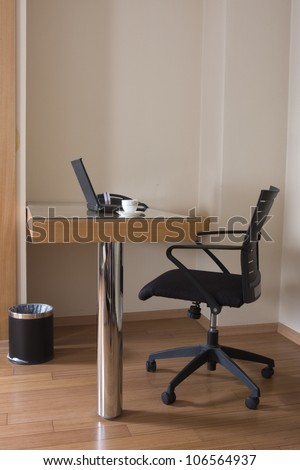 modern study room with chair and desk - stock photo