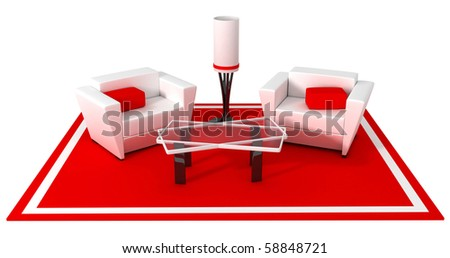 Modern style armchair, red and white (done in 3d) - stock photo