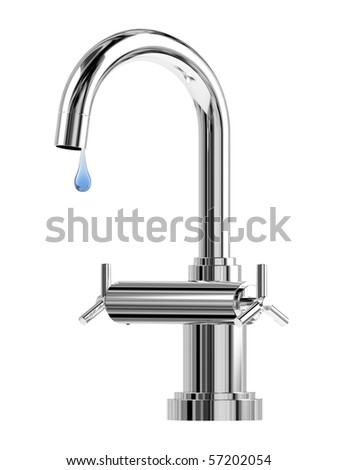 Modern style chrome single lever bathroom faucet tap with waterdrop - stock photo