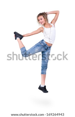 modern style dancer jumping on white background - stock photo