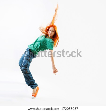 Modern style female dancer on white background - stock photo