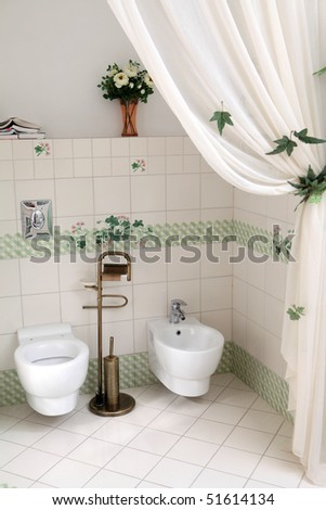 Modern style of toilet corner in the bathroom - stock photo