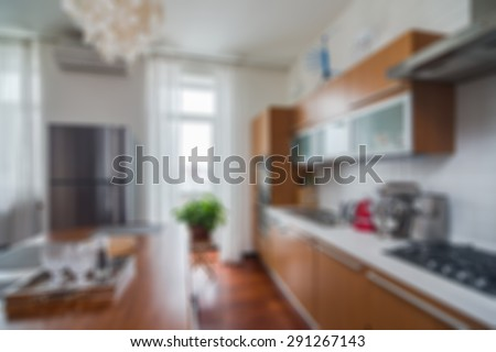 Modern stylish apartment interior themed abstract blur background with bokeh - stock photo