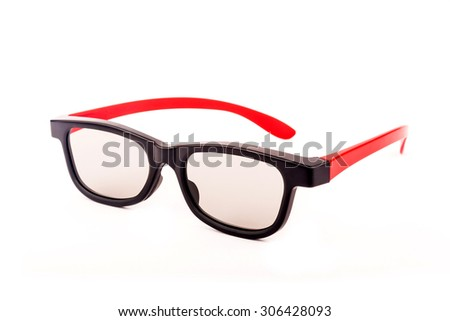 Modern stylish 3D movie glasses with red frame over white background - stock photo
