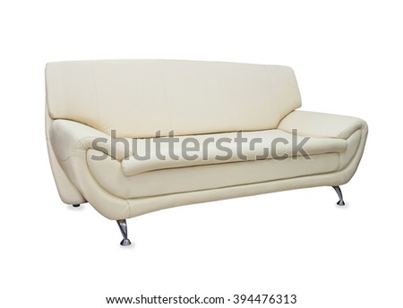 Modern stylish sofa from beige leather isolated over white - stock photo
