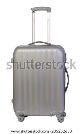 Modern suitcase isolated on white background - stock photo