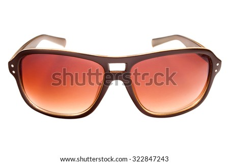 Modern sunglasses isolated on white. - stock photo