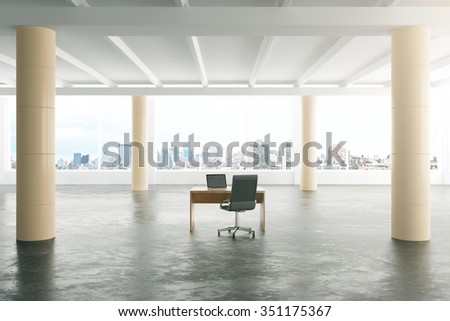 Modern sunny loft style open space office with furniture, big windows and pillars 3D Render - stock photo