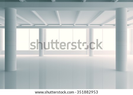 Modern sunny white style open space office with big windows and pillars 3D Render - stock photo