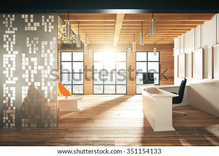 Modern sunny wood style reception hall with big windows 3D Render - stock photo