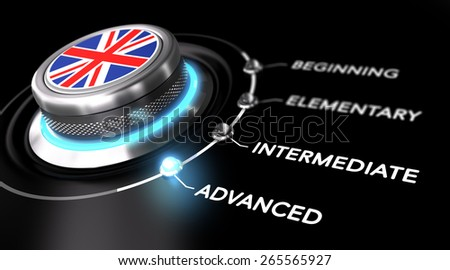 Modern switch pointing the word advanced. Black background. Concept of english courses or language skill level - stock photo