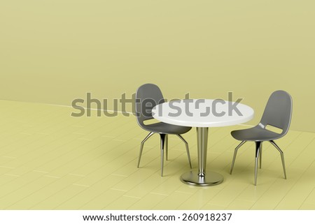 Modern table and chairs in green room - stock photo
