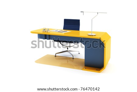 modern table 3d render, isolated ot white - stock photo