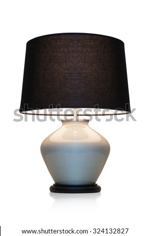 Modern table lamp black marble on a white background. - stock photo