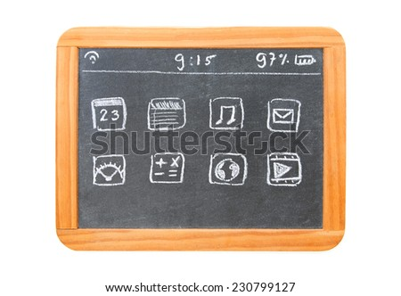 Modern tablet computer drawn on an old chalkboard tablet - stock photo