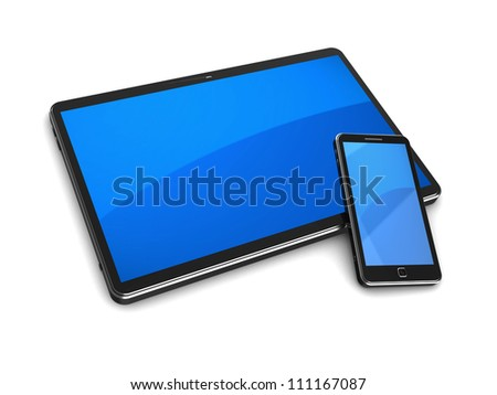 Modern tablet computer with cellphone on a white background - stock photo