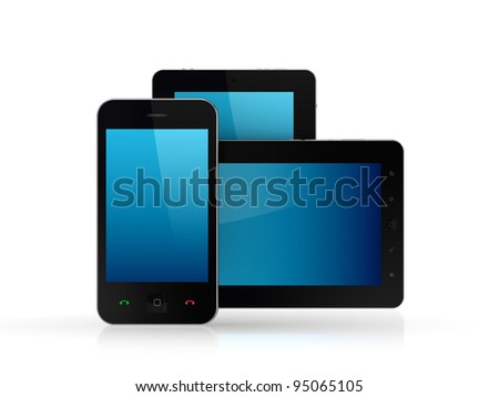 Modern tablet pc and mobile phone.Isolated on white background.3d rendered. - stock photo