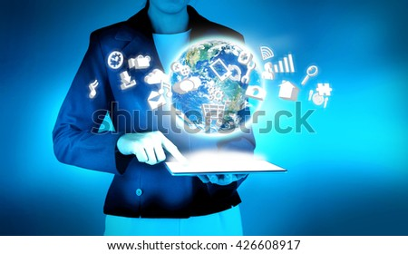 Modern technology Application. Elements of this image furnished by NASA - stock photo