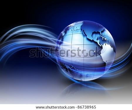 modern technology background with metallic world and lights - stock photo