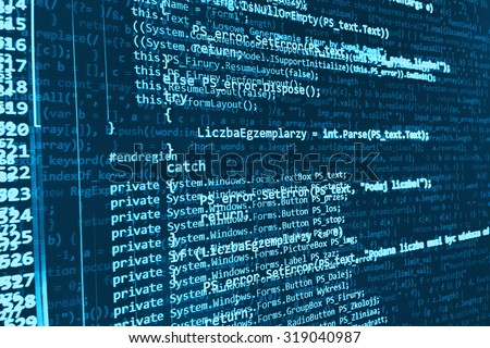 Modern technology digital computer program source code background. Shallow depth of field, selective focus effect. Code text written and created entirely by myself - stock photo