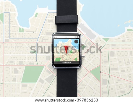 modern technology, navigation, location, object and media concept - close up of black smart watch with gps navigator map - stock photo