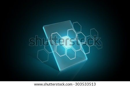 modern technology, network and futuristic concept - blank illuminating virtual tablet or digital screen with hexagonal pattern - stock photo