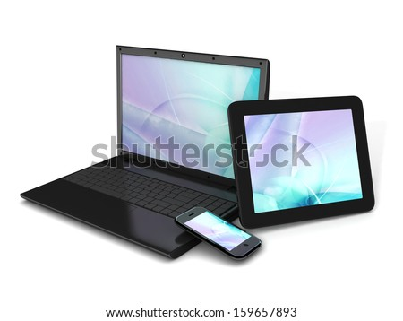 Modern technology: tablet computer, laptop and mobile phone isolated on a white background  - stock photo