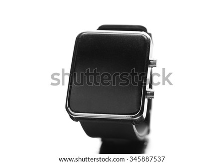 modern technology, time, object and media concept - close up of black smart watch - stock photo