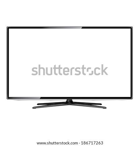 modern television screen on white background - stock photo