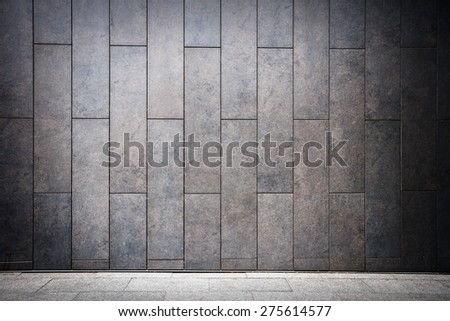 Modern tile wall and sidewalk - stock photo