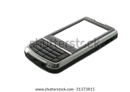 Modern touch screen mobile phone isolated on white. - stock photo