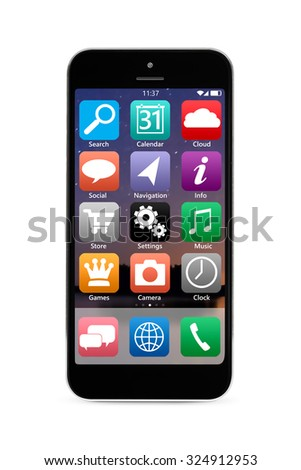 modern touch screen smartphone with mobile interface, isolated on white background - stock photo