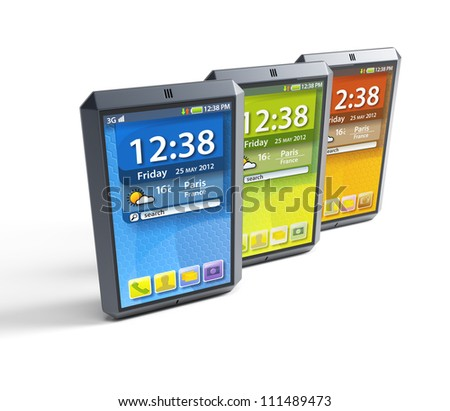 modern touchscreen smartphones, isolated 3d render - stock photo